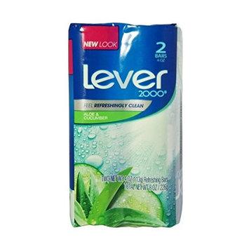 Lever 2000 Refreshing Bar Soap, Fresh Aloe & Cucumber 4 oz, 2 ea (12 Pack)