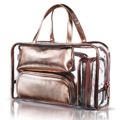 NiceEbag 5 in 1 Cosmetic Bag & Case Portable Carry on Travel Toiletry Bag Clear PVC Makeup Quart Luggage Pouch Handbag Organizer for Men and Women (Rose G