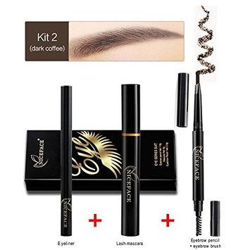 Ownsig Eye Makeup Kit With Eyeliner Pen Eyebrow Pencil Eyelash Mascara for beginners 02#Dark Coffee