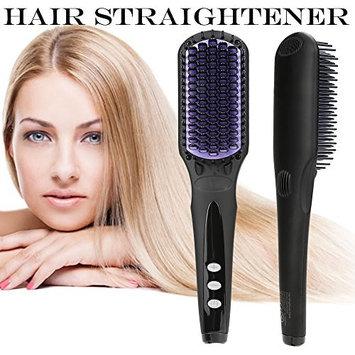 Electric Hair Brush,Hair Straightening Brush for Long Hair Ceramic Heating Brush Hair Straightener Heat Auto Temperature Lock (US specifications)