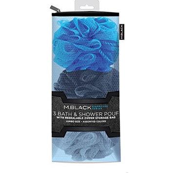 M.Black Signature Series 3 Piece Bath & Shower Pouf Set - Assorted Colors With Resealable Zipper Storage Bag!