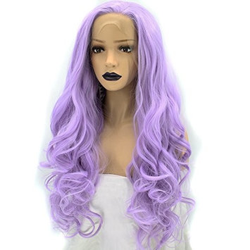 Anogol Hair Cap+Synthetic Front Lace Wig Purple Long Wavy Wigs Natural Hairline For Women Hair