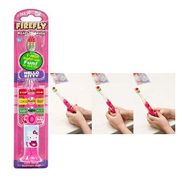 Ready...Set...Brush!!! Firefly Hello Kitty Ready Go Toothbrush With Blinking Lights As A Visual Aid For Proper Time Spent Cleaning Teeth!