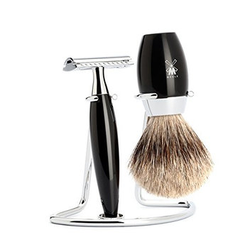 Muhle KOSMO Safety Razor Set with Fine Badger Shaving Brush – Black
