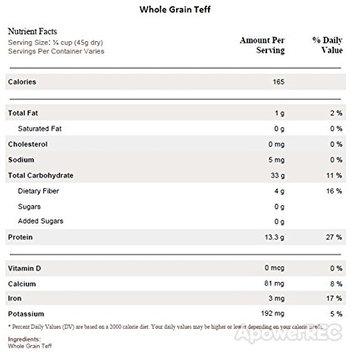 Great River Milling Non Organic Brown Teff Grain, 5 Pound