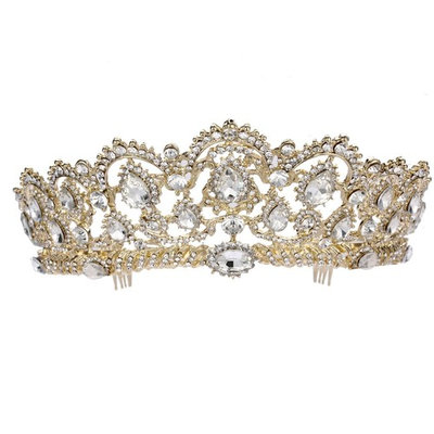 Frcolor Crystal Rhinestone Tiara Crown with Side Comb for Wedding Bridal Party (G