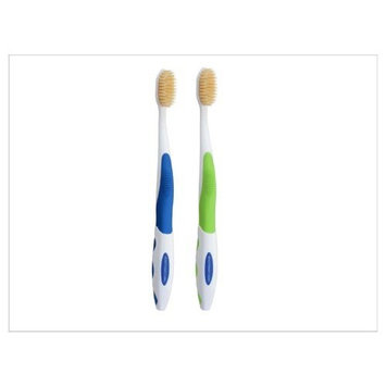 Doctor Plotka's Mouthwatchers Antimicrobial Floss Bristle Silver Toothbrush, Adult, 2 Pack