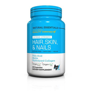BPI Sports Natural Essentials, Hair, Skin & Nails with Biotin & Collagen, 60 Count