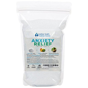 Anxiety Relief Bath Salt 32oz (2-Lbs) Epsom Salt With Ylang Ylang & Frankincese Essential Oils Plus Vitamin C All Natural Ingredients - Destress, Relax, Relieve Tension Bath Soak