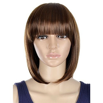 Simplicity Women Classic Short Bob Wig Cosplay Party Light Brown Full Hair Wigs