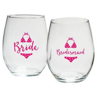 4ct Kate Aspen Bride And Bridesmaids Beach Bikini 15 Oz. Stemless Wine Glass