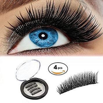Magnetic False Black Eyelashes- 3D Fiber Reusable Fake Lashes Extension for Natural Look, Ultra Light and Glue