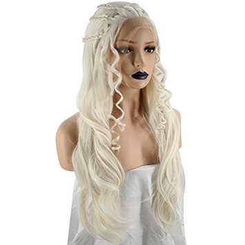 Anogol Hair Cap+Blonde Lace Front Wig Braided Synthetic Hair Long Wavy Wigs For Princess Hairstyles