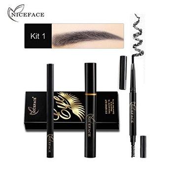 Ecosin Eye Makeup Combination Eyeliner Mascara Eyebrow Pencil Black Waterproof 1 Set