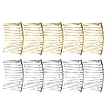 MagiDeal 10 Pieces Vintage Handmade DIY Wire Comb Metal Hair Combs Base 4 Colors Plated Women's DIY Wedding Bridal Hair Jewelry - as described, mixed