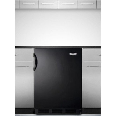 SUMMIT ADA compliant built-in undercounter refrigerator-freezer with cycle defrost in black exterior
