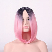 JYWIGS 14'' Two Color Wig Black Root Short Bob for Women Colored Mixed Middle Parted No Bangs Party Cosplay Costume (Pink)