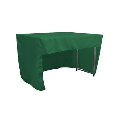 LA Linen TCpop-OB-fit-48x30x30-GreenEmP32 1.6 lbs Open Back Polyester Poplin Fitted Tablecloth Emerald Green
