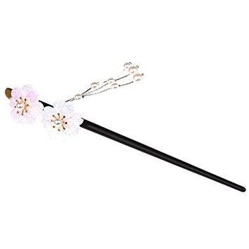 MonkeyJack Women Bridal Flowers Acrylic Hair Stick with Pearl Tassels Hair Pin Hair Accessories - White