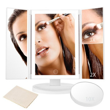 LED Lighted Makeup Mirror, Trifold Vanity Mirror with Full-rim Light Band 10X 3X 2X 1X Magnification and Light Control Touch Screen, 180 Degree Free Rotation Countertop Cosmetic Makeup Mirror