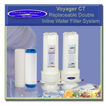 Crystal Quest CQE-IN-00106 Voyager CT Replaceable Double Inline Water Filter system-Plus