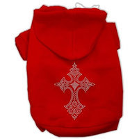 Mirage Pet Products 5422 MDRD Rhinestone Cross Hoodies Red M 12