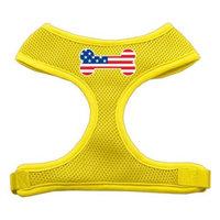 Mirage Pet Products Bone Flag USA Screen Print Soft Mesh Dog Harnesses, Large, Yellow