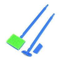Fish Tank Blue Nonslip Handle Green Sponge Cleaning Brush Cleaners Scraper