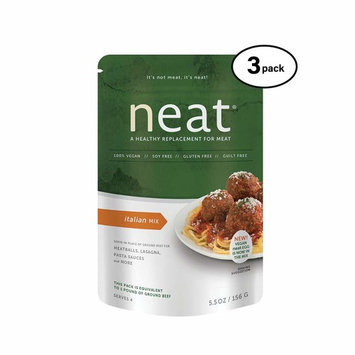 neat - Plant-Based - Italian Mix (5.5 oz.) (Pack of 3) - Non-GMO, Gluten-Free, Soy Free, Meat Substitute Mix