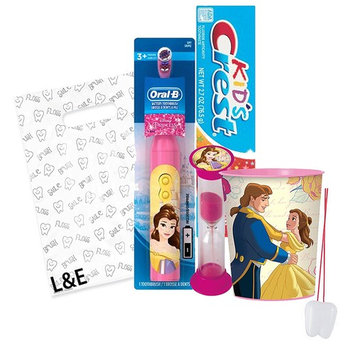 Beatuy and the Beast Belle 4pc Bright Smile Oral Hygiene Bundle! Turbo Powered Toothbrush, Toothpaste, Brushing Timer & Mouthwash Rinse Cup! Plus Dental Gift & Remember to Brush Visual Aid!