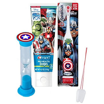 Marvel Avengers 3pc Bright Smile Oral Hygiene Set! Turbo Powered Toothbrush, Toothpaste & Brushing Timer! Plus Bonus