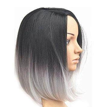 KISSPAT Black/White Ombre Wig, Full Head Bob Style Fun Wig With Free Wig Cap & Storage Box