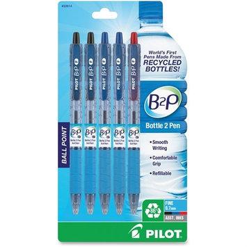 Pilot B2R Bottle to Pen Retractable Ballpoint Pens, Fine Point, Assorted Colors, 5/Pack