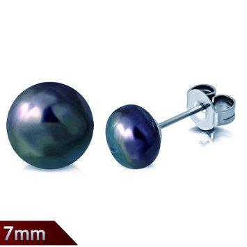 Feshionn Iobi Peacock Iridescent Black 7mm Genuine Cultured Pearl Stud Earrings Teal Tone