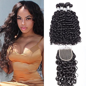 Maxine 10A Brazilian Virgin Hair Bundles Water Wave 3 Bundles With Free Part Closure Wet And Wavy Virgin Human Hair Weave Natural Color, Shedding and tangles free(16 18 20 with 14)