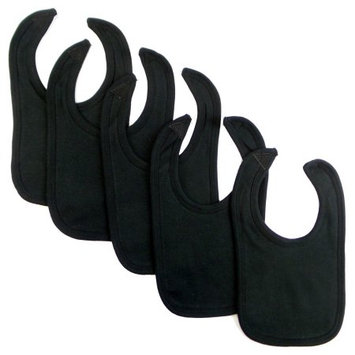 Bambini Black Interlock Bib (Pack of 5)