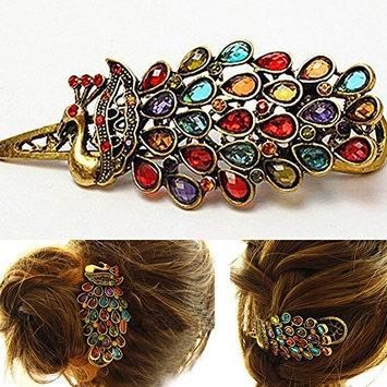 Fashion Hair Clip Vintage Colorful Rhinestone Peacock Hairpin