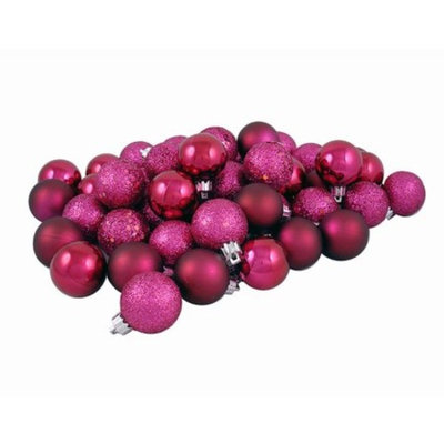 32ct Red Raspberry Shatterproof 4-Finish Christmas Ball Ornaments 3.25