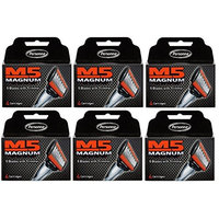 Personna M5 Magnum 5 Refill Razor Blade Cartridges, 4 ct. (Pack of 6) + FREE Assorted Purse Kit/Cosmetic Bag Bonus Gift