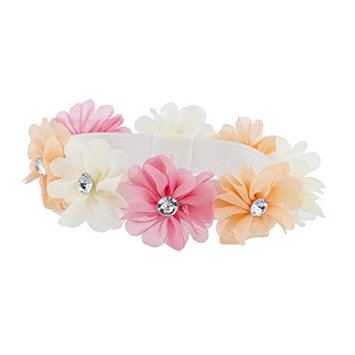 Lux Accessories Pink Peach Faux Ivory Chiffon Flower Ponytail Holder Elastic Hair Tie