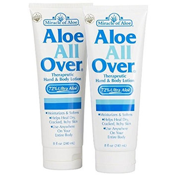 Aloe All Over 8 Oz -2 Pack BEST Skin Lotion For Moisturizing Severe Dry Flaky Itchy Skin Legs Arms Hands Glowing Baby-Soft Skin