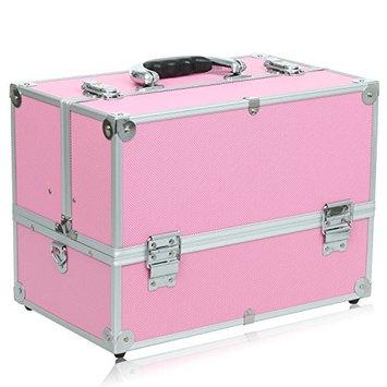 Anfan Aluminum Makeup Train Case Professional Travel Cosmetic Organizer Box Kit with 4 Adjustable Trays & Keys