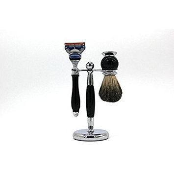 Bluesky Badger Bristle brush Chrome Razor Stand Wet Shaving Set