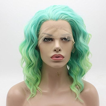 Lace Front Synthetic Wig Medium Length Wavy 14inch Green Root Light Yellow Ombre Wig Stylish Wig