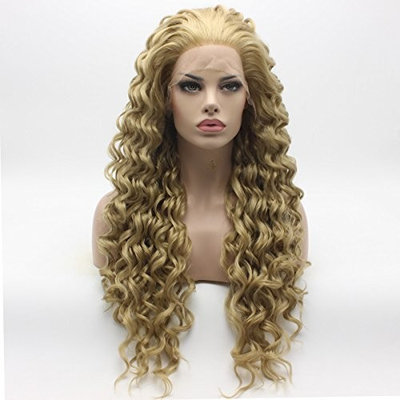 Lushy Kinky Curly Long Two Tone Blonde Mix Wig Heavy Density Half Hand Tied Heat Resistant Synthetic Lace Front Wig