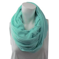 Pop Fashion Womens Infinity Lightweight Scarf Solid Color Scarf with Frayed Edges - Teal Mint