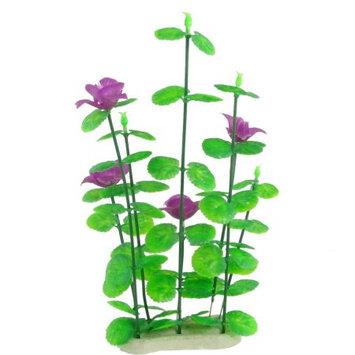 Aquarium Fish Tank Purple Flowers Green Leaves Plant Grass Decor
