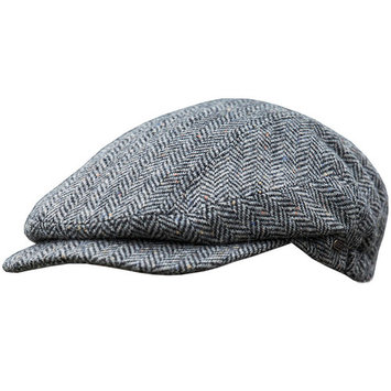 Men's Authentic Irish Wool Flat Cap - Traditional Herringbone Style, Made in Ireland, Gray, Medium