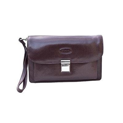 Hansson Luxury Texas Gents Italian Leather Small Wrist Bag - Dark Brown