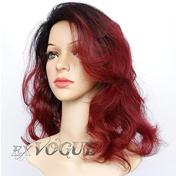 Exvogue Dark Wine Red Ombre Wigs for Women Medium Length Wavy Synthetic Burgundy Wig with Black Roots